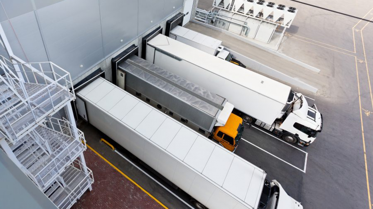 Big distribution warehouse with gates for loads and trucks
