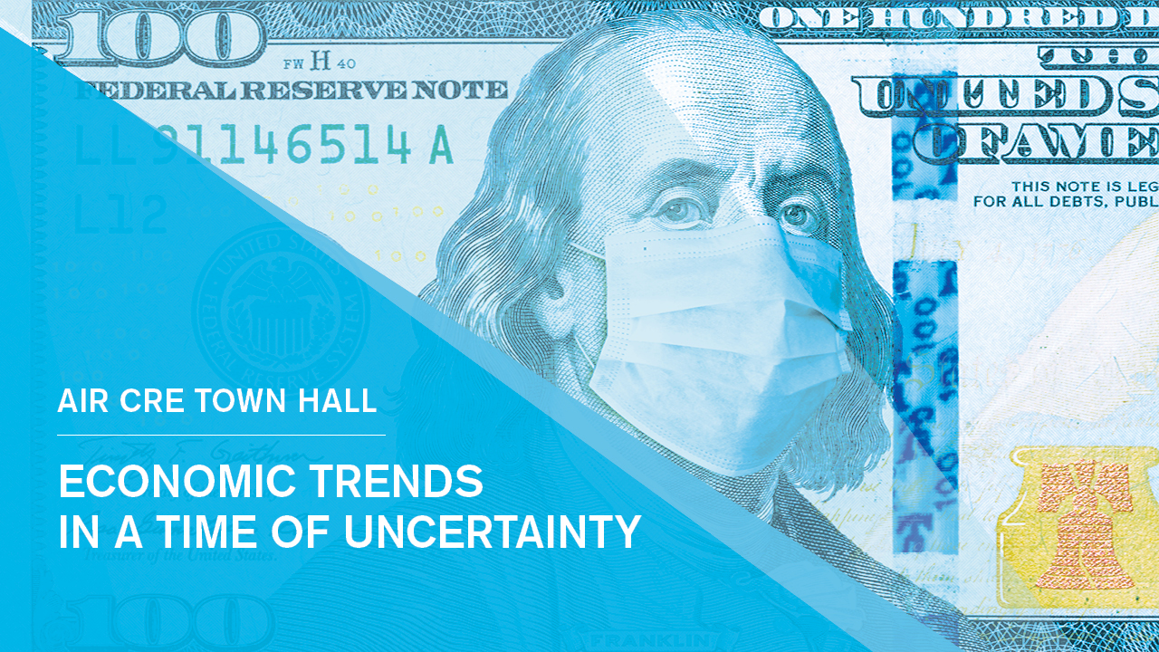 Event banner image which shows US dollar bill and George Washington wearing a mask for coronavirus